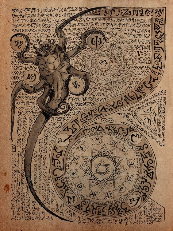 """Propnomicon: Curious devices, forbidden artifacts, mysterious creatures, and intriguing documents. """"From the Black Book: Artist Daniel Govar brings us this page from the infamous Necronomicon.  It's a premium for a Kickstarter looking to fund a Lovecraft comic book."""""""
