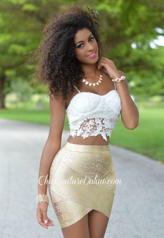 Chic Couture Online - Bri Gold Metallic Bandage Mini Skirt, (http ...