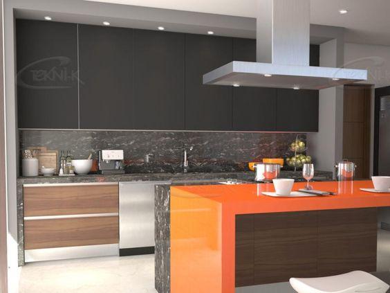 Cocina linea milan con alacenas en cristal negro mate y for Marmol color naranja