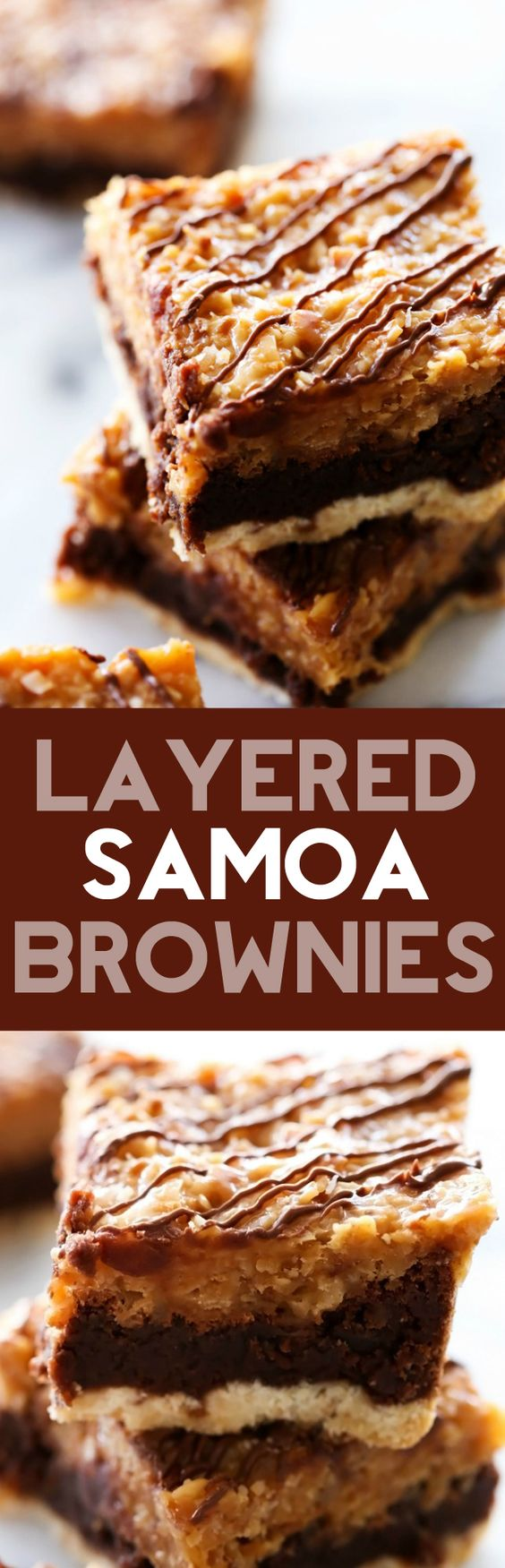 Layered Samoa Brownies... Layers of shortbread cookie, rich fudgy brownies and a delicious chewy coconut caramel topping. These brownies are textured with three different layers and will be a huge hit!
