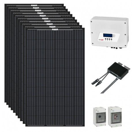 Kit solaire Q.Cells 6000 W pour autoconsommation avec onduleur et optimiseurs SolarEdge livré avec ou sans supports toitures en option. Plug & play 230V. Orientation portrait.