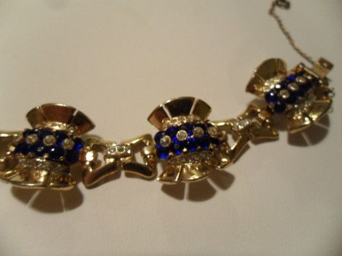 RARE VINTAGE STERLING SILVER SIGNED CORO CRAFT BLUE STONE HEAVY BRACELET sold for $ 52