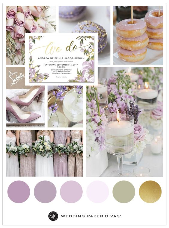 Love purple and metallic colors together? This stunning lilac and gold wedding inspiration board will make you swoon. Perfect for any season!