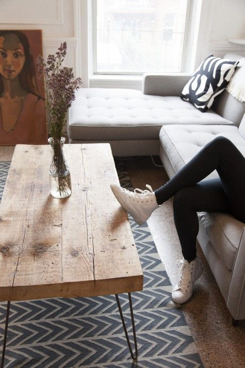 Love this handmade coffee table. I have been wanting to have legs like this made for my studio desk made from on antique pocket door.: