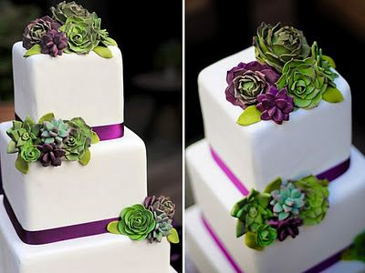 Cake idea: Purple Succulent, Purple Ribbon, Pretty Cake, Succulent Cake, Cake Ideas, Beautiful Cake, Succulent Wedding Cakes, Green Wedding