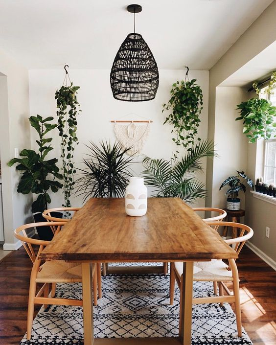 "Where Bohemian Meets Modern on Instagram: ""This is where we eat, fold laundry, pack tapestries, and do our taxes...might as well fill this space with lots of pretty plants! 🌿  Anyone…"""
