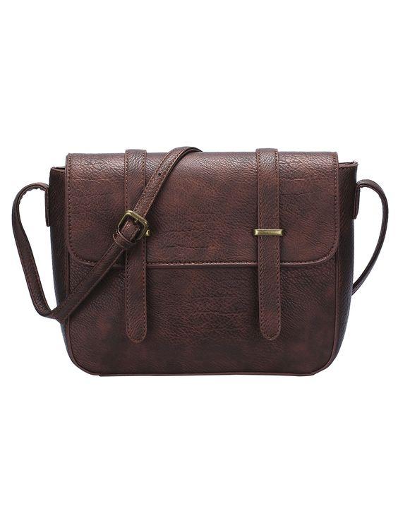 Brown Magnetic Buckle PU Satchel Bag