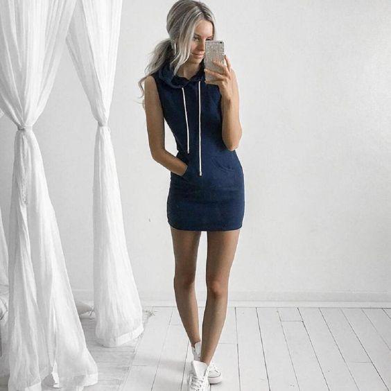 Fashion Women Summer Casual Sleeveless Hoody Dress