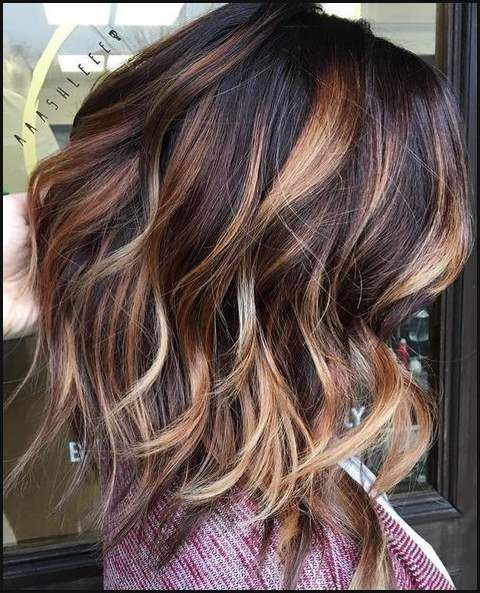 Hair Color Trends 2017 2018 Highlights Dark Brown With Caramel Lob Frisur Frisuren Balayage