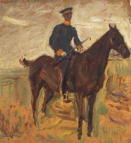 Max Slevogt - Württembergischer Dragoneroffizier zu Pferd (1902)