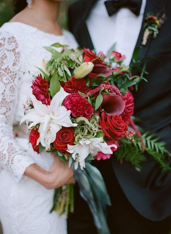 Roses, calla lily, celosia, and hydrangea