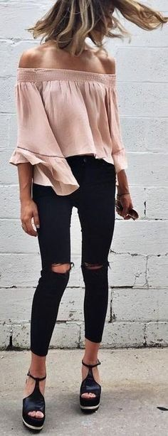 Wedges + black jeans + beige off the shoulder top