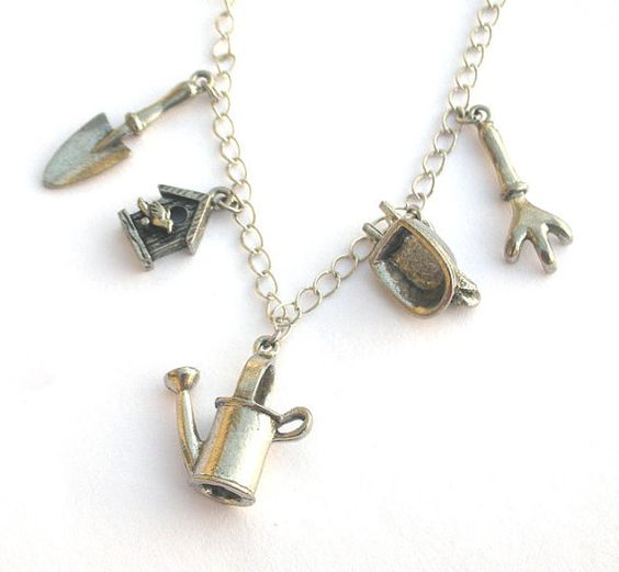 Gardening charm necklace antiqued silver pewter by Mindielee, $28.00...perfect for the gardener!