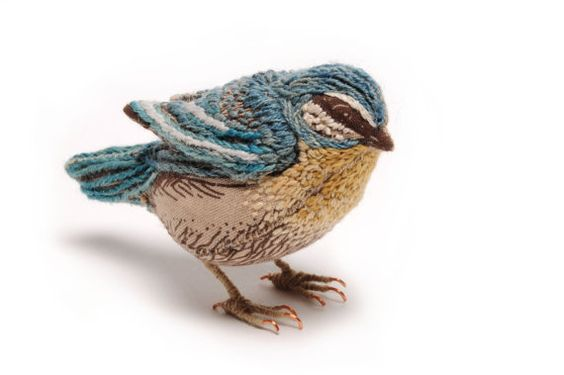 Blue Tit, Beautiful Hand embroidered from Catherine Frere-Smith~ oh my! i love this wee bird