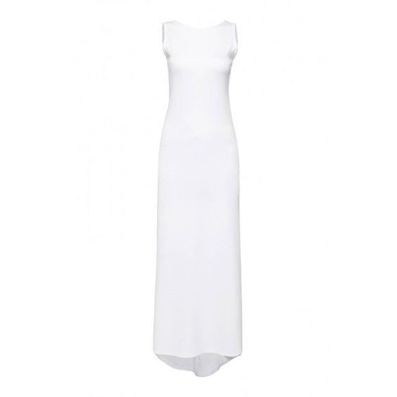 Yoins Backless Maxi Dress ($19) ❤ liked on Polyvore featuring dresses, white, white backless dress, crew neck maxi dress, white maxi dress, backless dress and white dress