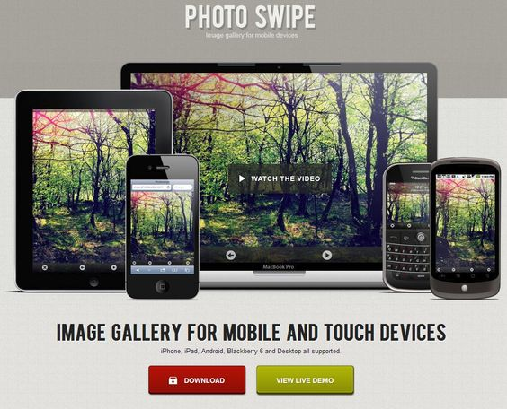 Photo Swipe - Image gallery for mobile and touch devices (iPhone, iPad, Android, Blackberry 6 and Desktop all supported).