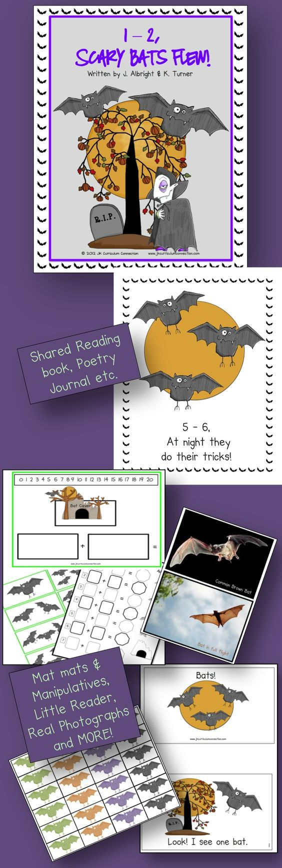 This poem is about the nighttime excitement of flying bats. It has the surprise ending when the bats turn into vampires! Two Little Readers and a Math Center activity is included.
