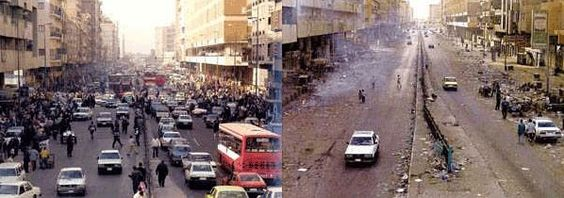 "nowinexile: Iraq before and after ""democracy"" 10 years since the American invasion of Iraq. More then 600,000 deaths and a beautiful country destroyed by American imperialist greed."