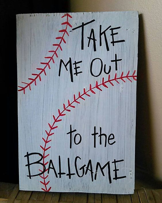 Check out this item in my Etsy shop https://www.etsy.com/listing/278384520/hand-painted-wooden-baseball-sign-take