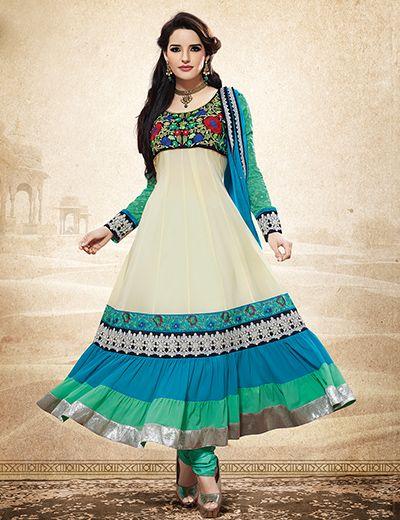 G3 Fashions Elegant beige georgette unstitch anarkali salwar kameez Products code: G3-WSS2893 Price:  ₹ 4233.00