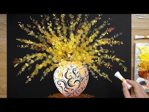 How To Paint Forsythia Flowers In Vase With Acrylic Paint Spring