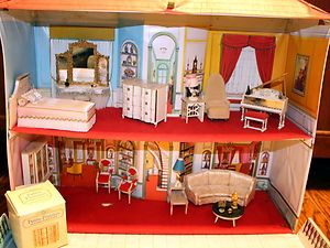 Vtg 1964 Ideal Toys Petite Princess Dollhouse + Fantasy Furniture Accessories