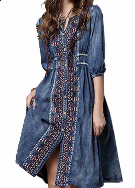 Bohemian Vintage Dress - Knee length Cotton Blend Bohemian Vintage Dress. Great details and super comfy. - On Sale for $49.00 (was $56.00)