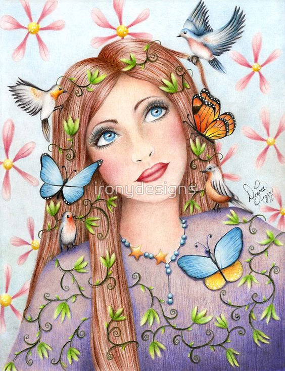 Drawing of a woman surrounded by birds and butterflies. Colored pencil hand-drawn art of birds and butterflies being attracted by a beautiful brunette female with blue eyes. Pink flowers in the background. All Rights Reserved © ironydesign.com - Available as Men's Apparels, T-Shirts & Hoodies, Stickers, iPhone Cases, Samsung Galaxy Cases, Posters, Home Decors, Tote Bags, Prints, iPad Cases, Laptop Skins, Drawstring Bags, Laptop Sleeves, and Stationeries