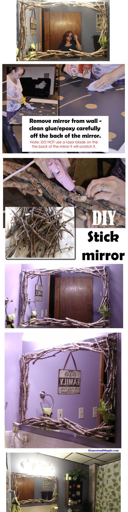 Diy stick twig mirror frame bathroom home decor idk - Stick on frames for bathroom mirrors ...