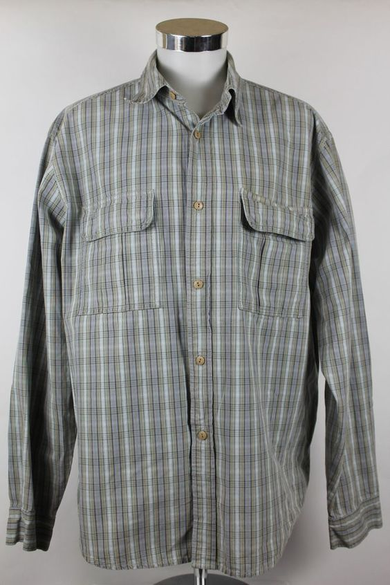 Levis Silver Tab Shirt Mens size XL Cotton Button Front Plaid Flap Pockets EUC #Levis #Hawaiian