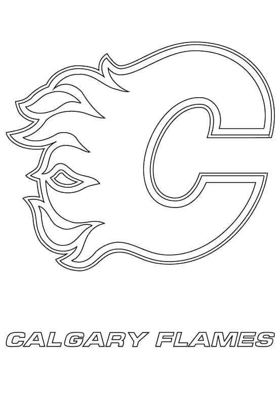 Print Calgary Flames Logo Nhl Hockey Sport Coloring Pages Sports Coloring Pages Printable Crafts Coloring Pages
