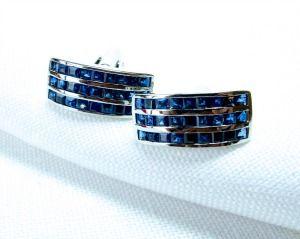 Blue Thai Sapphire Cuff Links - Custom Made by Asia Gem Connection