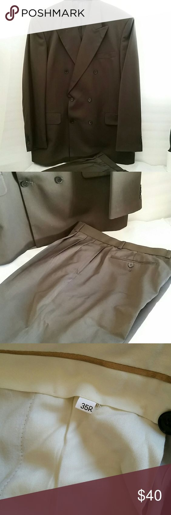 So Ho  collection 's suit Top size is 42R. Pants are 35R. Color is kind of military green.  Worn once. In excellent condition. SoHo Suits & Blazers Suits