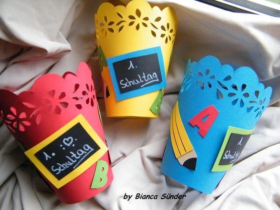 Tischlichter für Einschulung,,3 farben zur Wahl von Bianca`s Deko-Paradies auf DaWanda.com