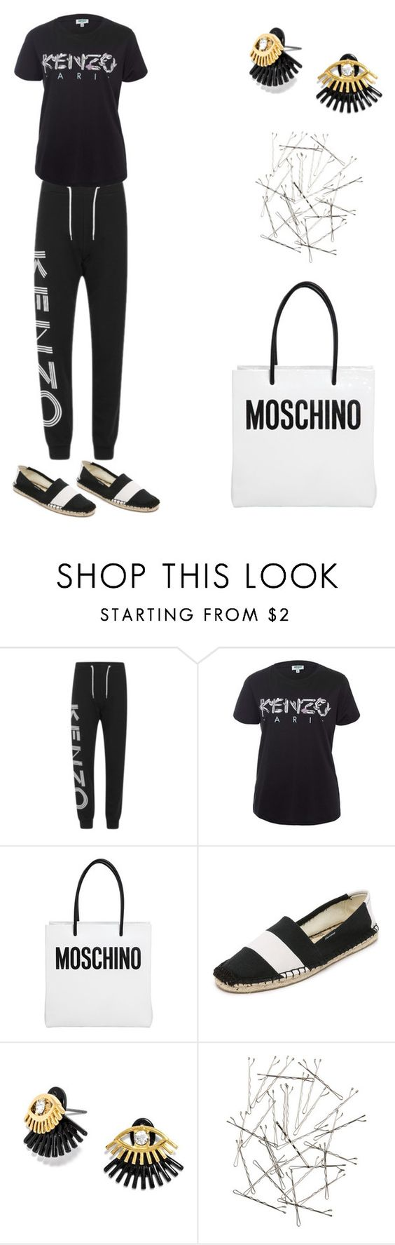 """""""Grace"""" by zoechengrace ❤ liked on Polyvore featuring Kenzo, Moschino, Soludos, BaubleBar and Monki"""