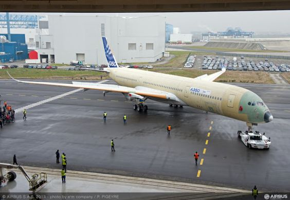 The first flying Airbus A350-900 MSN001 rolls out of the final assembly line at Toulouse france