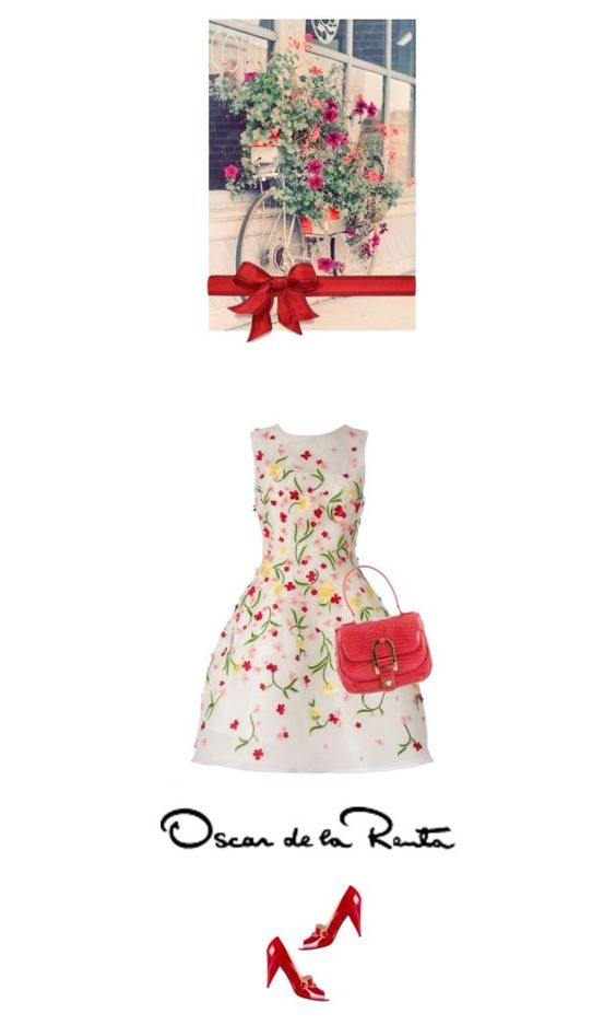 """oscar floral"" by bodangela ❤ liked on Polyvore featuring Oscar de la Renta and Shabby Chic"
