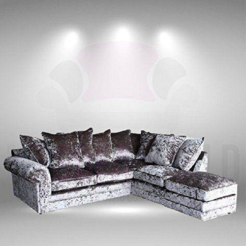 Vienna Silver Crushed Velvet Left Right Corner Sofa With Https Www Amazon Co Uk Dp B06y4fd6tc Ref Cm Sw R Pi Dp With Images Corner Sofa Sofa Crushed Velvet
