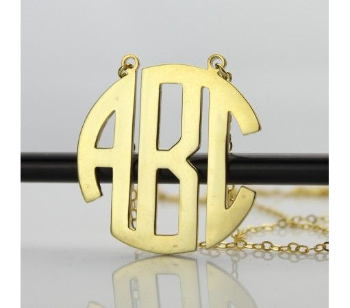 Personailzed Gold Plated 3 Initial Monogram Necklace PSG3
