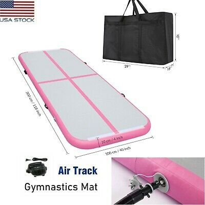 10ft Inflatable Air Track Floor Yoga Gymnastics Tumbling Mat Gym With Pump Pink In 2020 Gymnastics Tumbling Mat Gym Mats Gymnastics