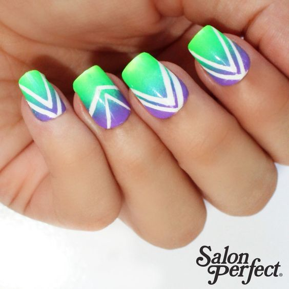 Make it bold and bright this #ManiMonday with Salon Perfect 'Sugar Cube', 'Loopy Lime', 'Bermuda Baby' and limited edition 'Purple POP!'  Nail Art Credit: @wondrouslypolished  Salon Perfect is available exclusively at select @Walmart stores nationwide.