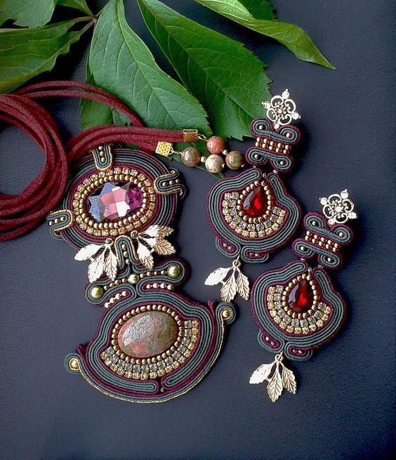 Soutache set with Unakite made in soutache techniques red, dark green, gold…