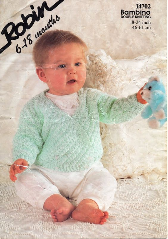 "baby crossover cardigan knit pattern PDF double breasted baby jacket 18-24"" DK light worsted 8 ply baby knitting pattern pdf download"