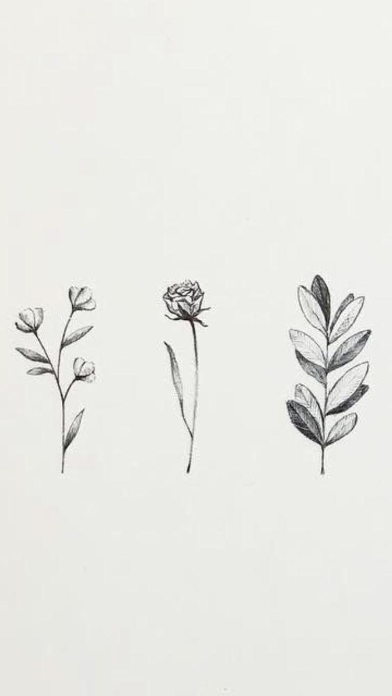 Floral Sketch Design Minimal Flower Drawing Watercolor Tattoo Flower Flower Drawing Flower Tattoo Designs
