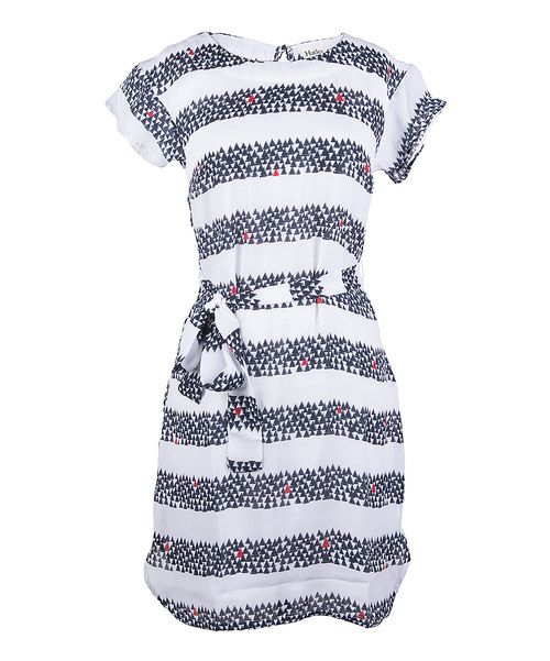Take a look at the Hatley White & Blue Sailboat Stripe Tie-Waist Short-Sleeve Dress on #zulily today!