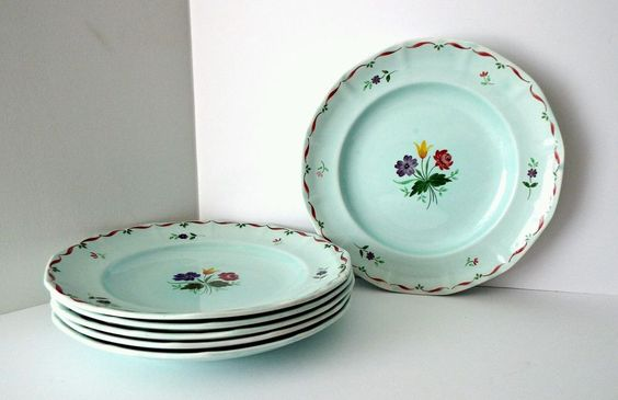 Vintage Adams Calyxware Allegro Dinerware Dinner Plates Set of 6