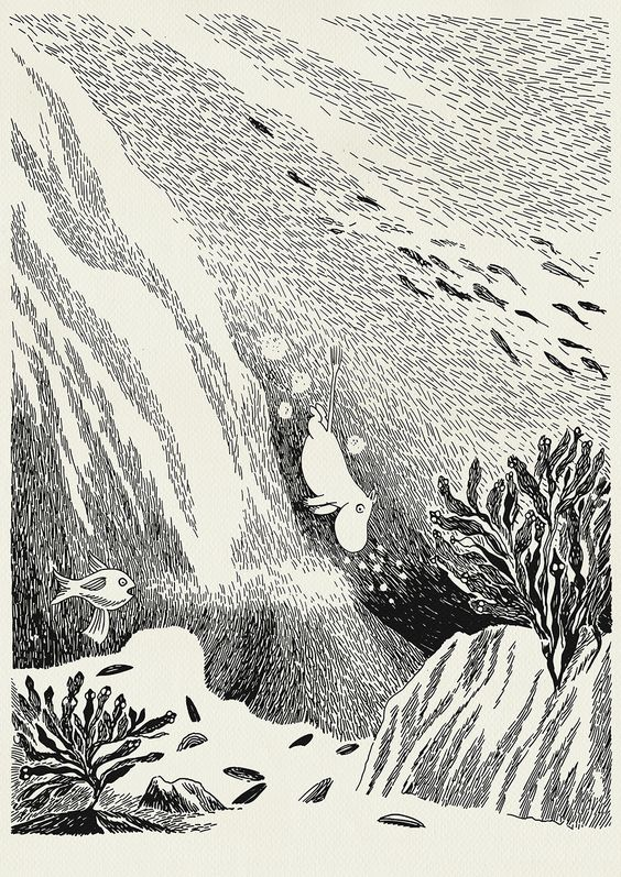 Tove Jansson, Moomin illustration. Moomintroll diving into the deep. :D I've always loved this one.