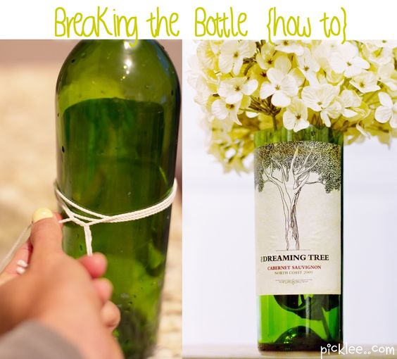 How to cut a bottle without using any cutters.  1.  fill bucket with ice cold water  2.  wrap string around bottle at least 3 times, then slide it off  3.  soak that string in nail polish remover for 10 seconds (use cap lid)  4. put string on bottle, light string on fire, rotate bottle around until flame goes out  5.  dip in the ice cold water and watch it break