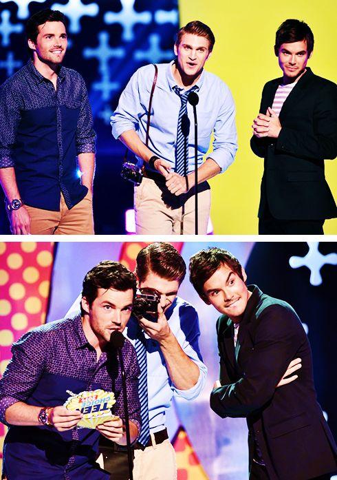 Ian Harding, Keegan Allen and Tyler Blackburn onstage during FOX's 2014 Teen Choice Awards