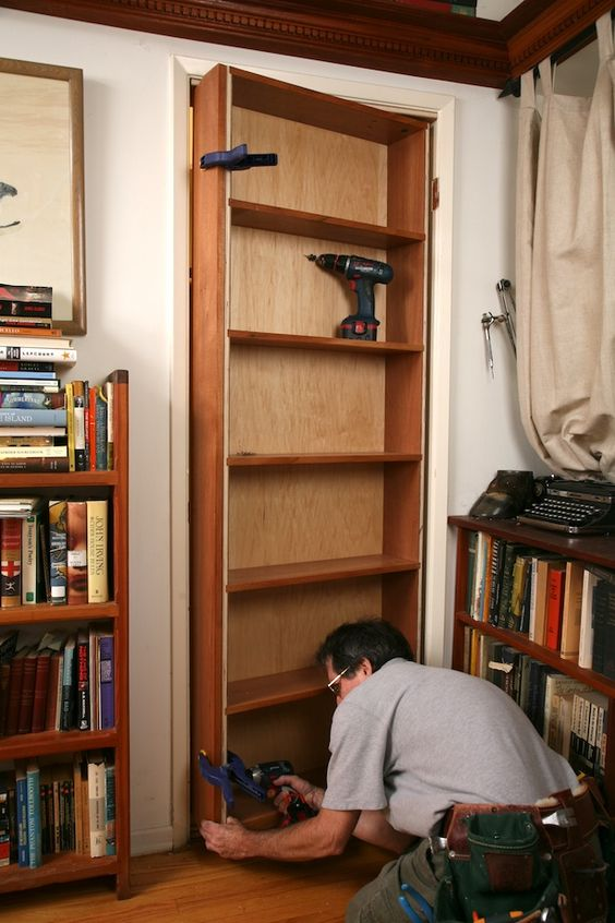 make your own hidden pivot bookcase it 39 s involved but worth it to have a hidden space i want. Black Bedroom Furniture Sets. Home Design Ideas